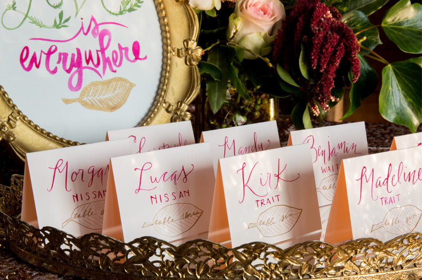 Escort Cards Place Calligraphy Leaf Illustrations Gold Pink Modern Magenta
