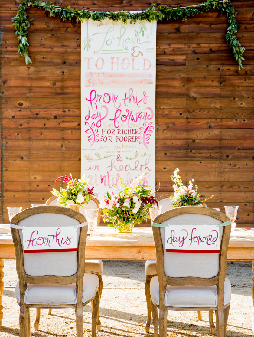 Wedding Vow Calligraphy Scroll Watercolor Backdrop Chair Backs Romantic