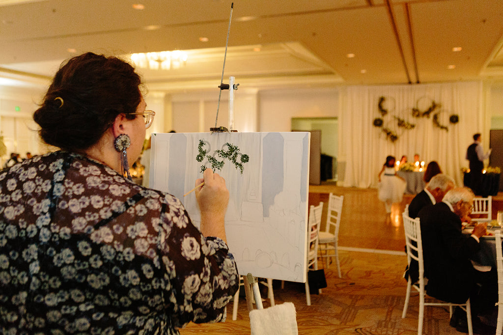 Live event painting wedding oil watercolor california northern destination
