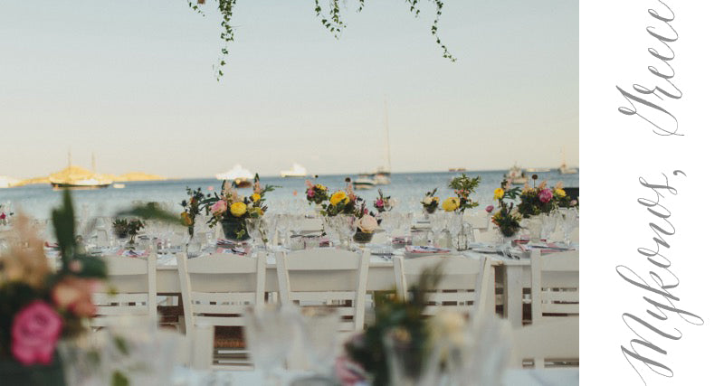 Destination Wedding Boats Water Beach Greece Dinner Kings Table