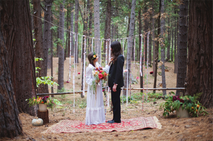 Boho Bohemian Forest Wedding Pigment & Parchment Northern California Nevada City Ceremony