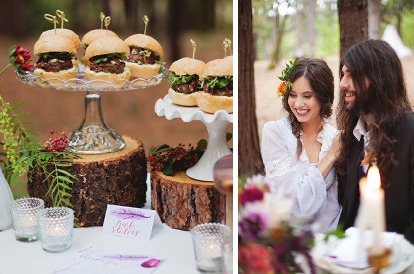 Boho Bohemian Forest Wedding Pigment & Parchment Northern California Sliders Appetizers Food Signage Calligraphy