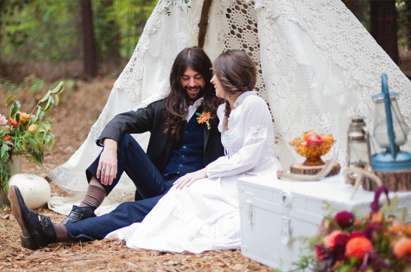 Tee Pee Lace Bride Groom Boho Bohemian Forest Wedding Pigment & Parchment Northern California