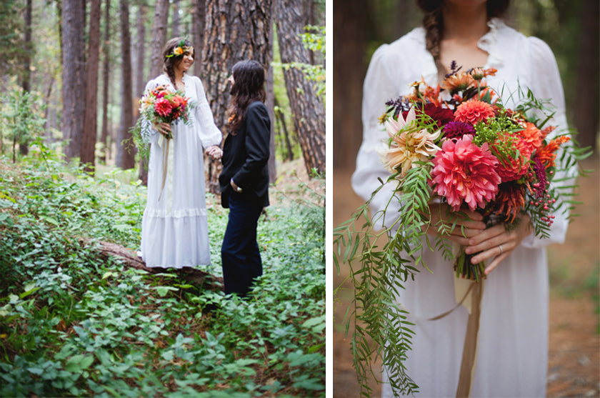 Boho Bohemian Forest Wedding Pigment & Parchment Northern California Nevada City Ceremony Ferns Little Boy Flowers Bouquet