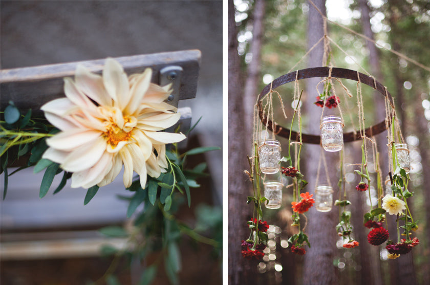 Boho Bohemian Forest Wedding Pigment & Parchment Northern California Mason Jar Candle Chandelier Dahlia Chair Back