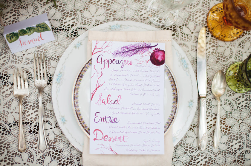 Boho Bohemian Forest Wedding Pigment & Parchment Northern California Menu Feather Pomegranate Place Setting Table Place Card