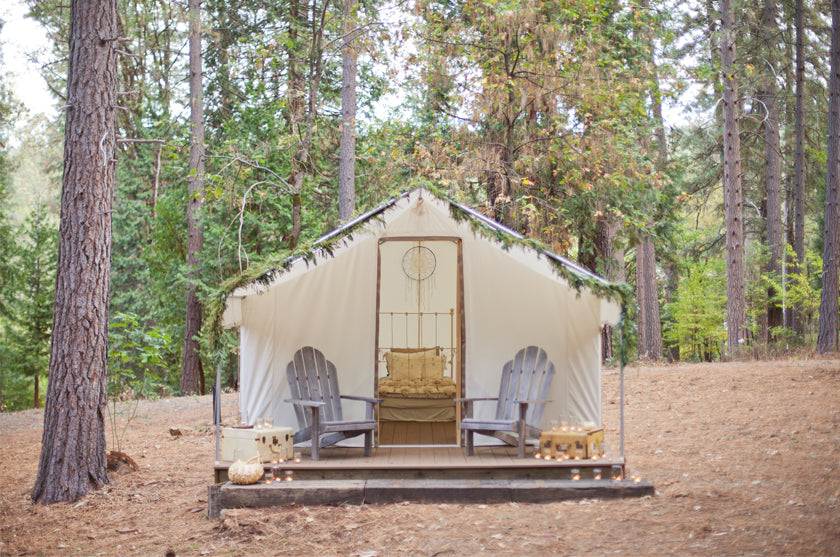 Glamping Tent Honeymoon Inntown Campground Boho Bohemian Forest Wedding Pigment & Parchment Northern California