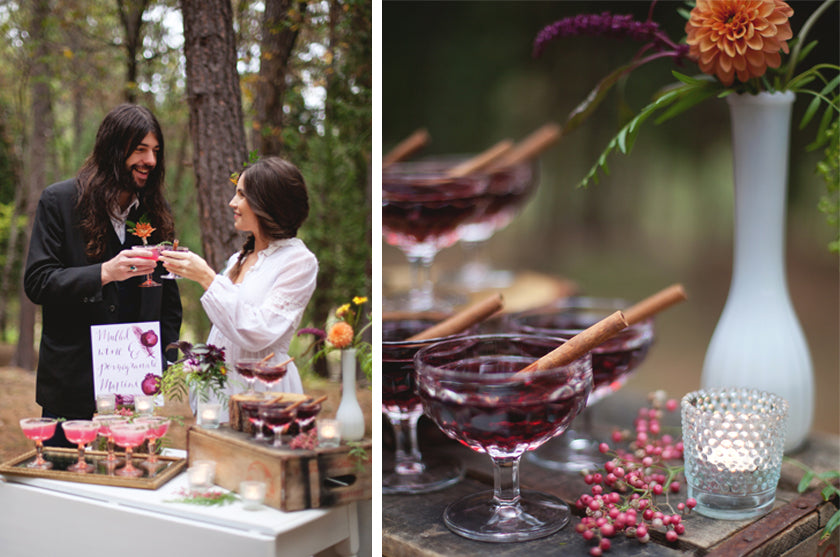 Boho Bohemian Forest Wedding Pigment & Parchment Northern California Nevada City Champagne Signature Cocktail Bride and Groom