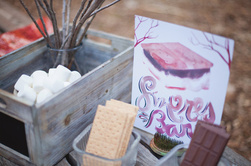 Smores Bar Signage Watercolor Dessert Sign Boho Bohemian Forest Wedding Pigment & Parchment Northern California
