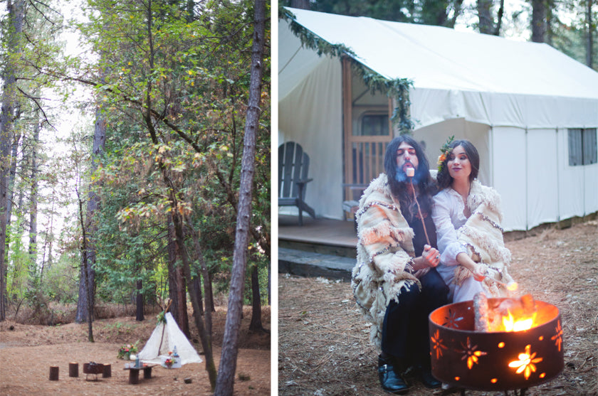 Smores Bride & Groom Fire Pit Boho Bohemian Forest Wedding Pigment & Parchment Northern California