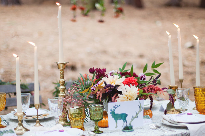 Boho Bohemian Forest Wedding Pigment & Parchment Northern California Table Number Deer Antlers Watercolor Taper Candles