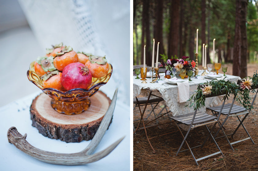 Boho Bohemian Forest Wedding Pigment & Parchment Northern California Dinner Chair Backs Place Setting Nature Taper Centerpieces Persimmons
