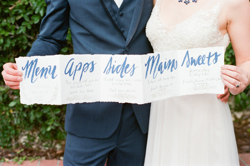 Calligraphy Menu Wedding  Accordion Foodie Bride Groom Brush Lettering Blue Sapphire Hand Painted