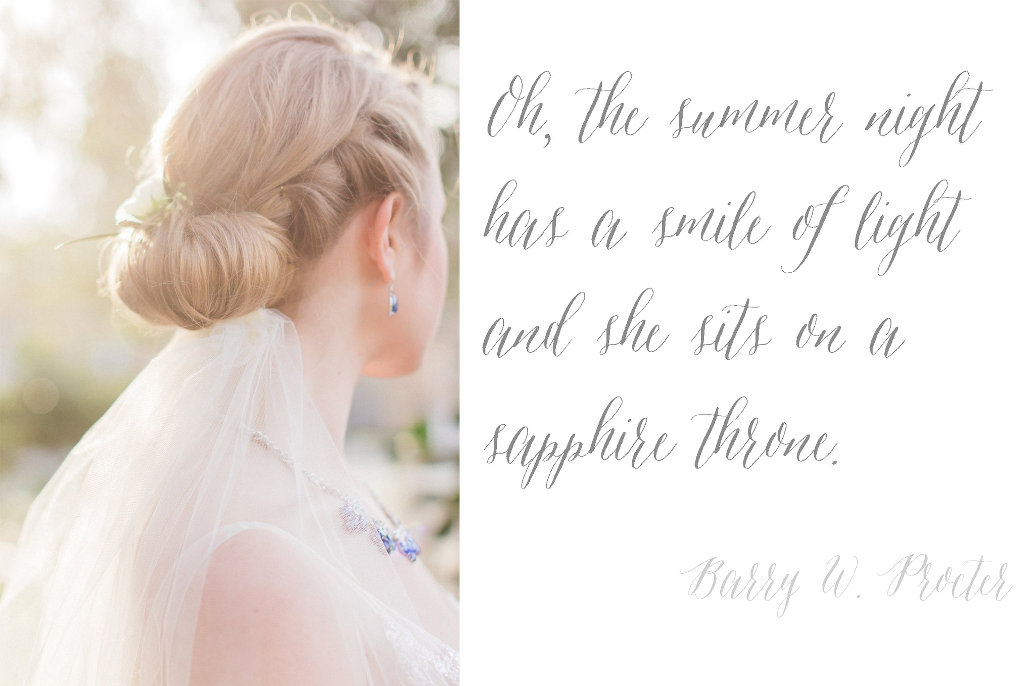 Sapphire Wedding Bride Flower Up Do Romantic Vintage Sun Quote Calligraphy