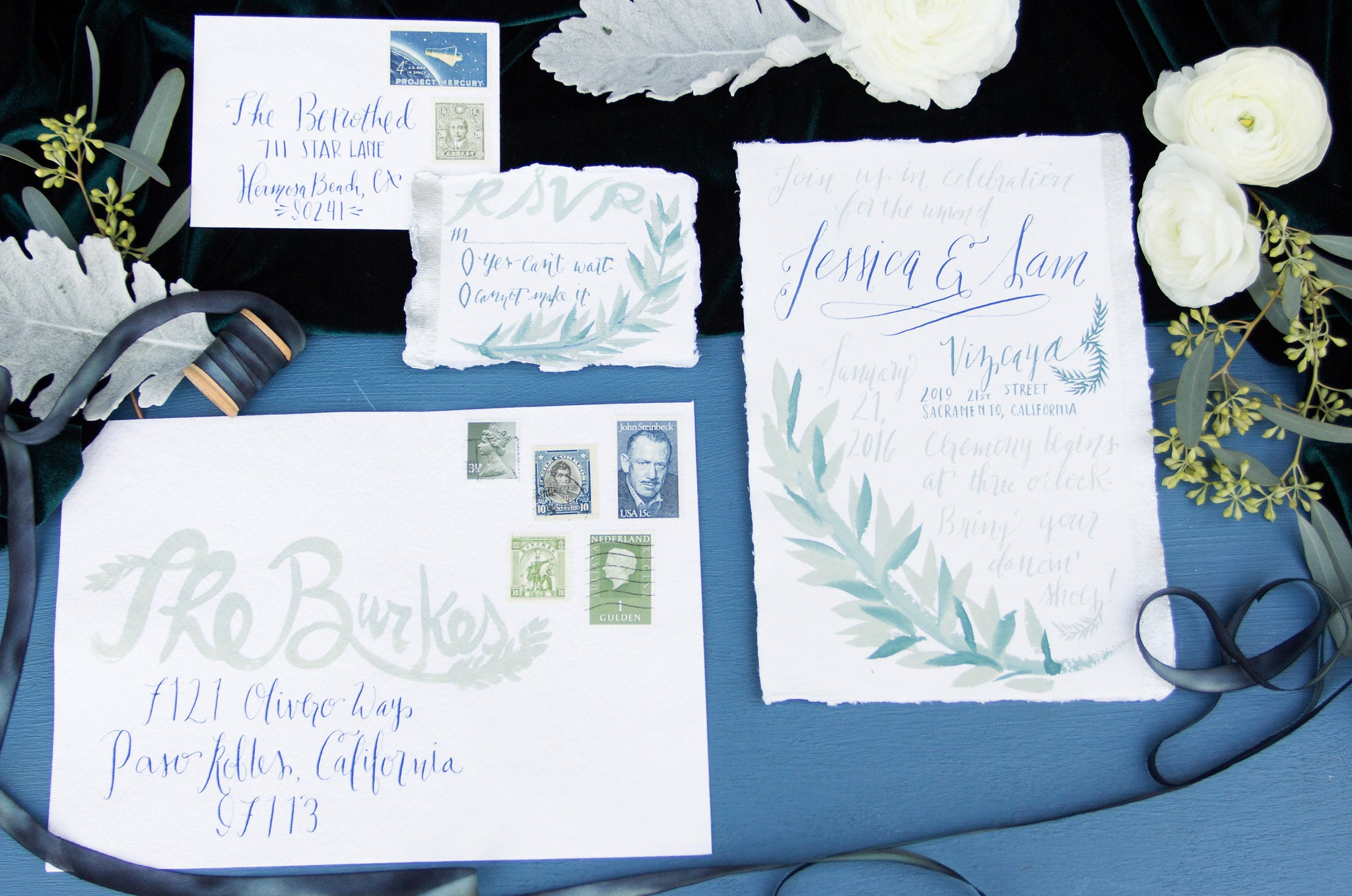 Blue Calligraphy Greenery Watercolor Silk & Willow Hand Made Vintage Stamps Pigment and Parchment Velvet