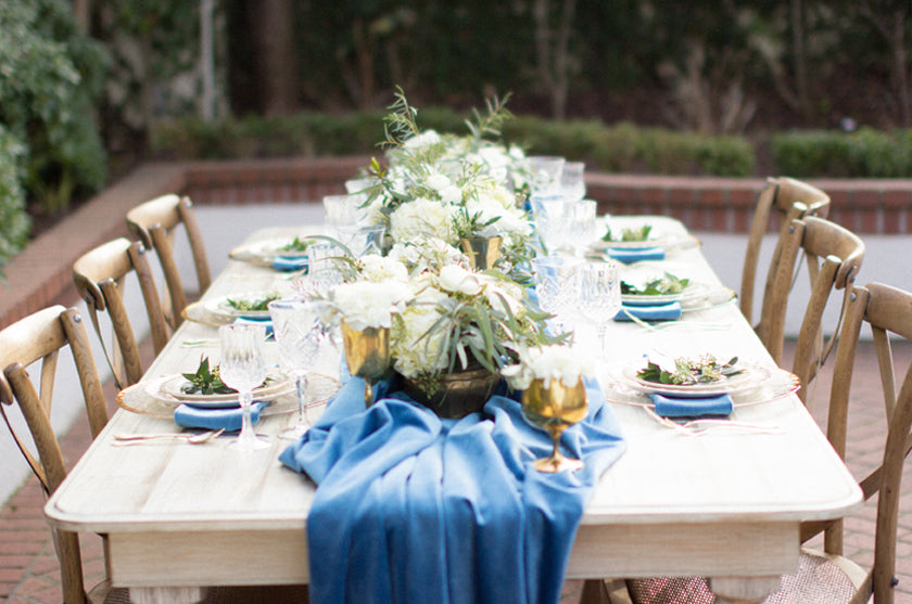 Wedding Blue Velvet Table Centerpieces Wood Gold Place Setting Greenery Event Design