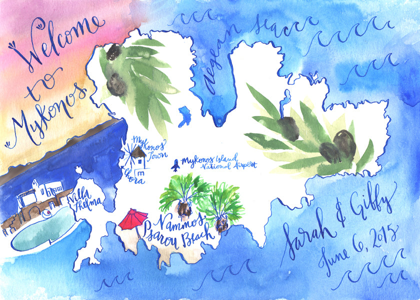 Greek Wedding Map Hand Painted Illustrated Calligraphy Destination