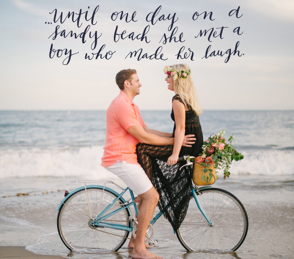 Beach Bike Calligraphy Engagement Save the Date Destination Wedding
