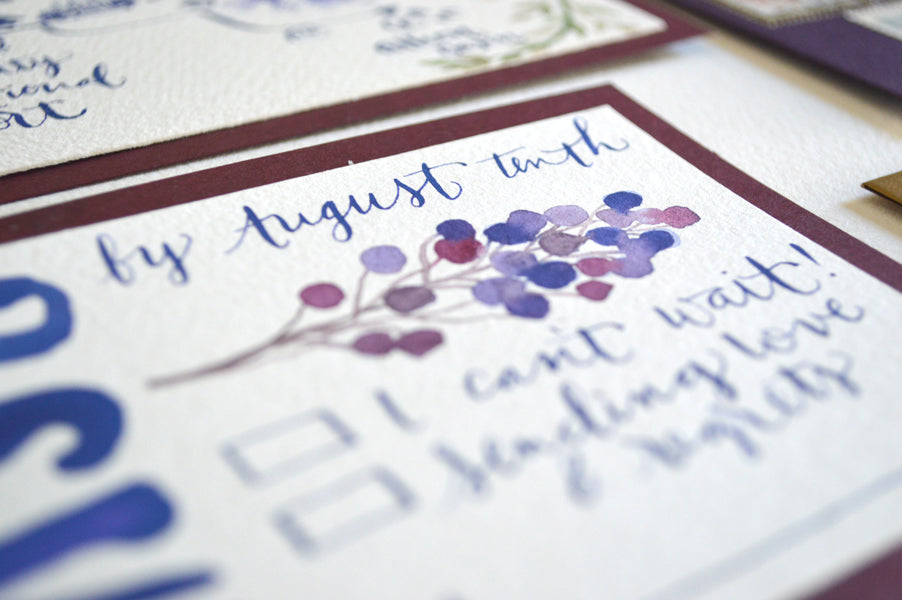 Watercolor Calligraphy Invitation Wedding Berry Fern Purple Pigment & Parchment