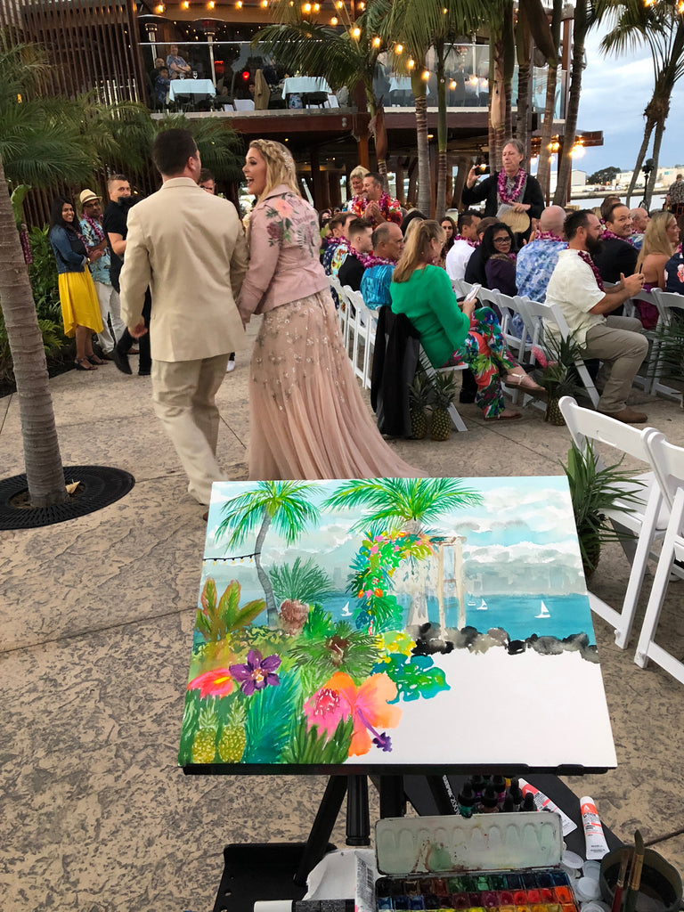 San Diego Live Event Artist Painter Watercolor Portrait Wedding Ceremony Bali Hai Restaurant