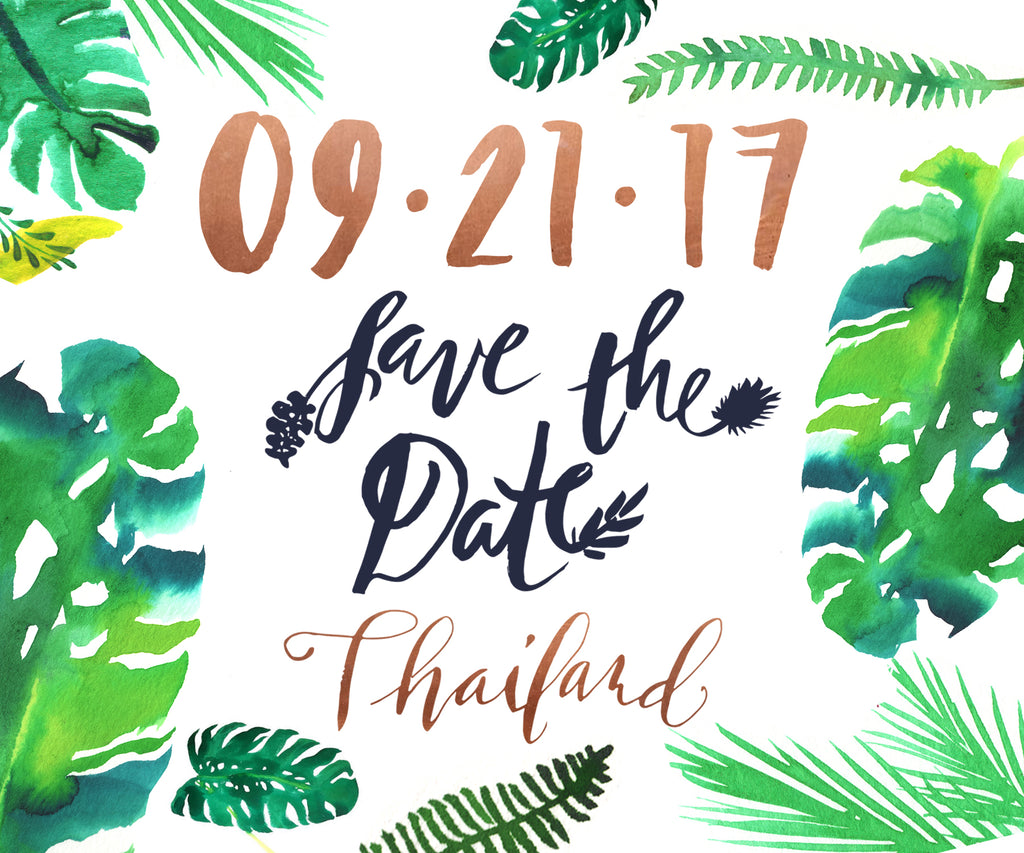 Save the Date Calligraphy Watercolor Tropical Palms Wanderlust Travel Thailand Greenery
