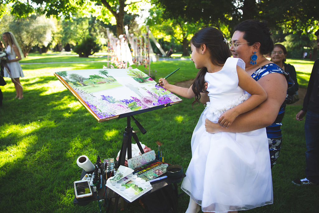 Live Wedding Painting Painter California Artist Events Watercolor Portrait