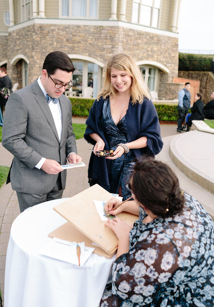 live wedding art guest favor entertainment calligraphy portrait ritz carlton half moon bay cocktail hour