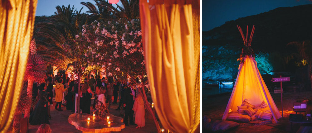 Tee Pee Beach Night Lit Up Drapes Palms Wedding Mykonos Greece Sand