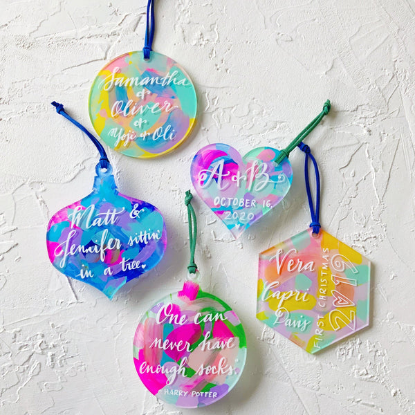 custom calligraphy christmas ornament hand painted abstract rainbow watercolor
