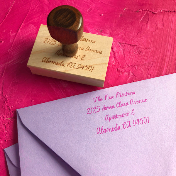 Return address calligraphy stamp custom hand done wedding invitations