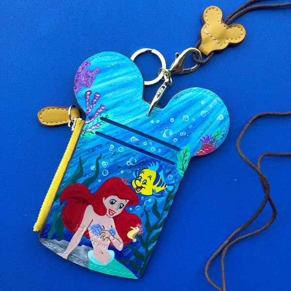 little mermaid pass case hand painted passholder Ariel mickey Disney Disneyland world