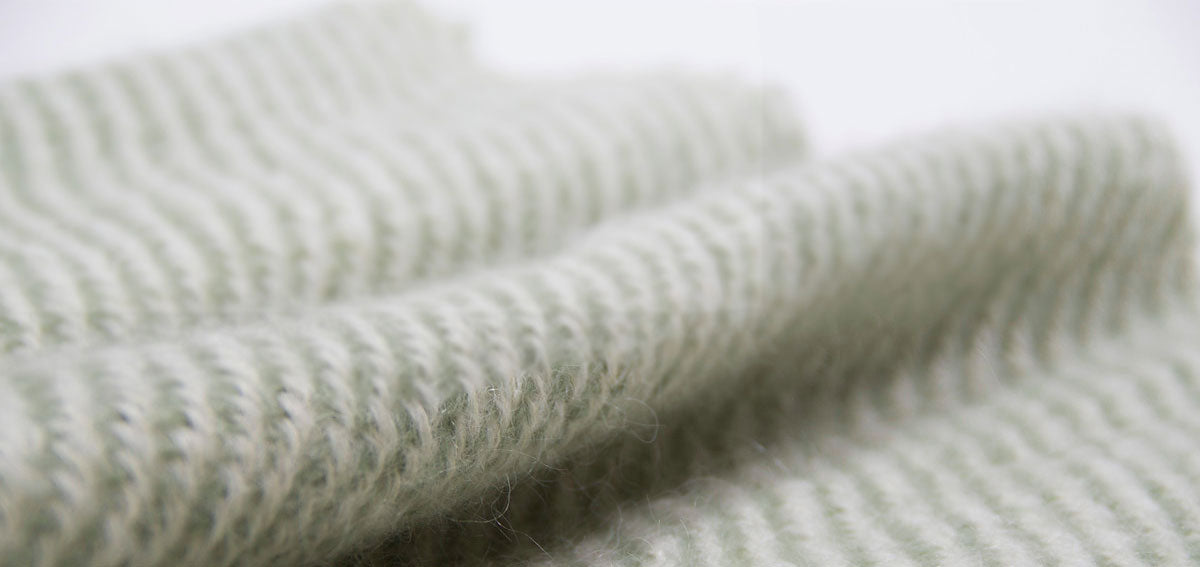 Green Mohar weaved throw Nantucket