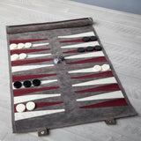 Gray Suede Roll-up Backgammon