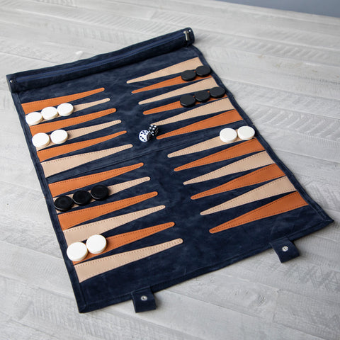 Navy Suede Roll-up Backgammon