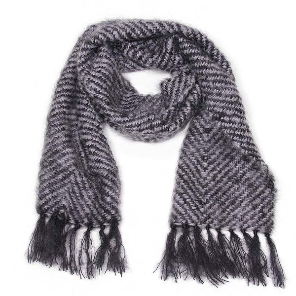 Black and Gray Chevron Mohair Scarf