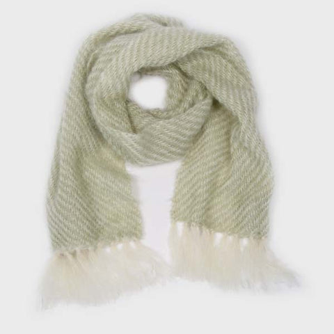 Honeydew Green Handwoven Mohair Scarf