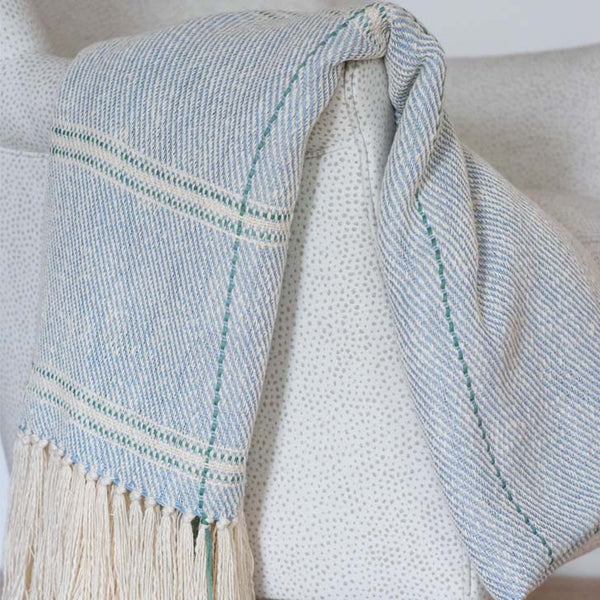 Light Blue with Seafoam Accent Handwoven Cotton Throw