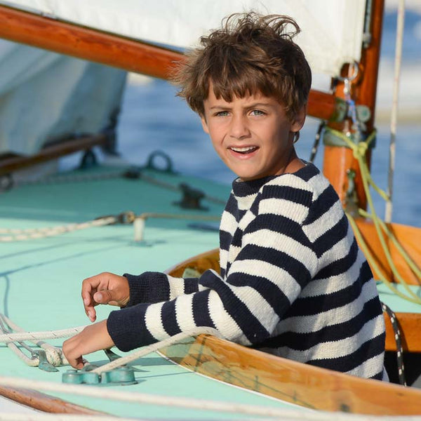 Children's Navy & Cream Stripe Boatneck Sweater