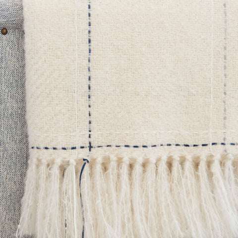 Ivory Blue & Gray Windowpane Handwoven Mohair Throw