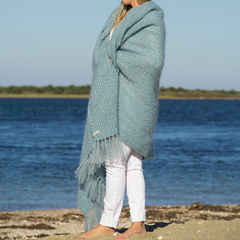 Winter Blue Handwoven Mohair Throw