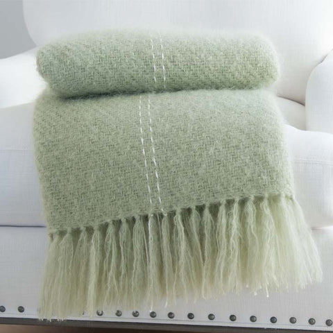 Spring Green Handwoven Mohair Throw