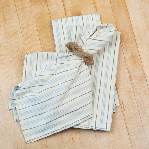 Blue & Gray Stripe Cotton Napkins