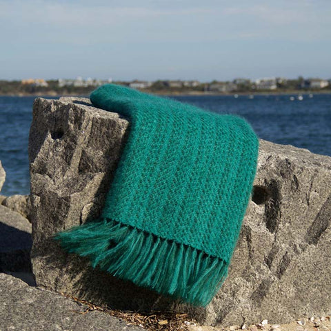 Jade Green Handwoven Mohair Throw