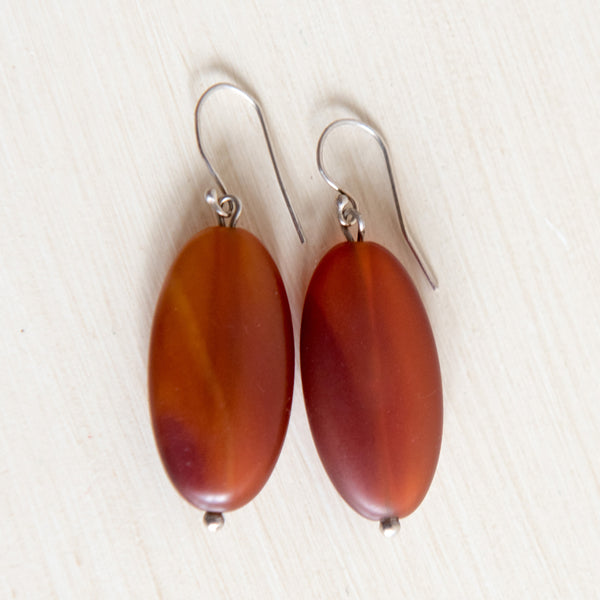 Burnt Amber Colored Pebble Earrings
