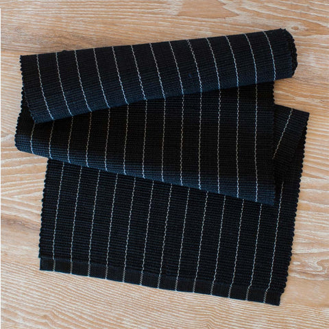 Black & Gray Pinstripe Table Runner