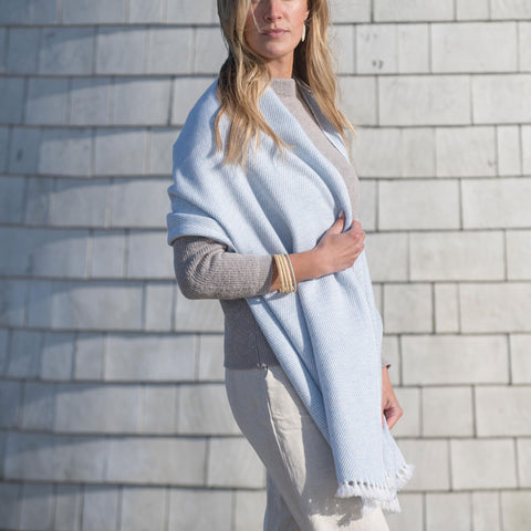 Morning Sky Blue Handwoven Cashmere Wrap