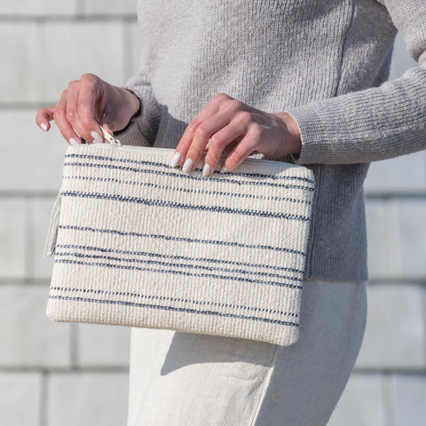 Blue Stripe Handwoven Fabric Clutch