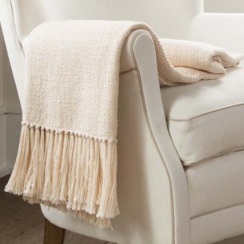 Ivory Handwoven Cotton Throw
