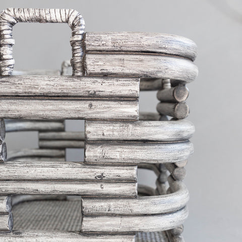 Gray Wash Rattan Basket