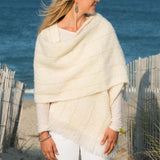 Ivory with Gold Lurex Accents Handwoven Mohair Wrap